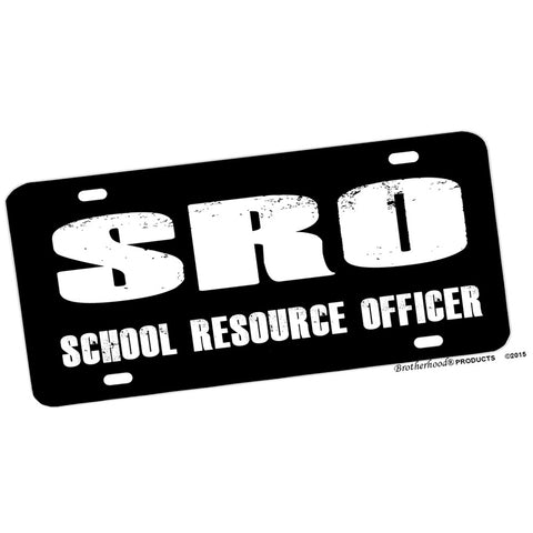 SRO School Resource Officer Black and White Aluminum License Plate