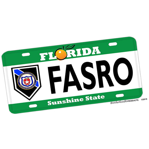 Florida The Sunshine State FASRO Design Aluminum License Plate