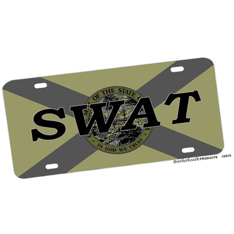 Subdued Florida State Flag SWAT Design Aluminum License Plate
