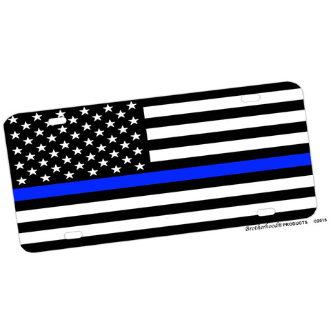 Thin Blue American Flag Design Aluminum License Plate