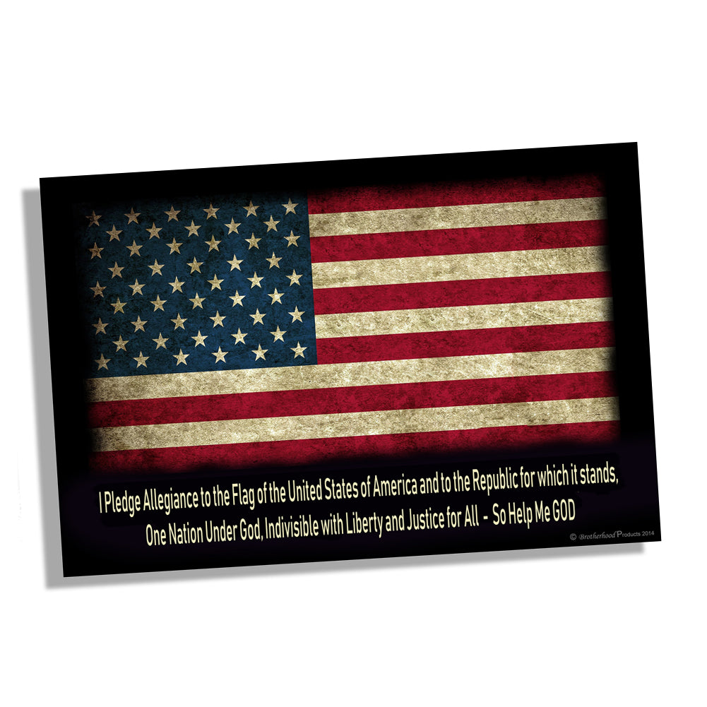 Patriotic American Flag Pledge of Allegiance Wall Poster