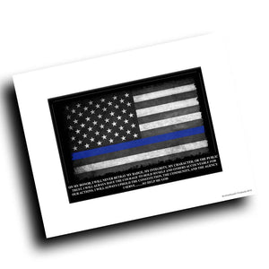 Thin Blue Line American Flag Oath of Office 8x10 Color Print