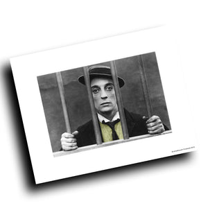 1920's Buster Keaton Behind Bars Vintage Design 8x10 Color Print