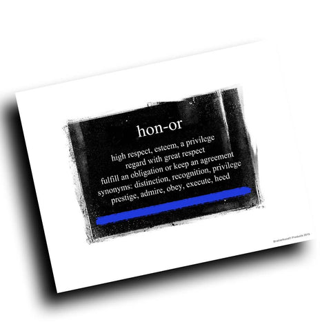 Thin Blue Line Definition of Honor Abstract Design 8x10 Color Print