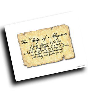 The Pledge of Allegiance Vintage Paper Design 8x10 Color Print