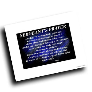 Thin Blue Line Police Sheriff Sergeant's Prayer Design 8x10 Color Print