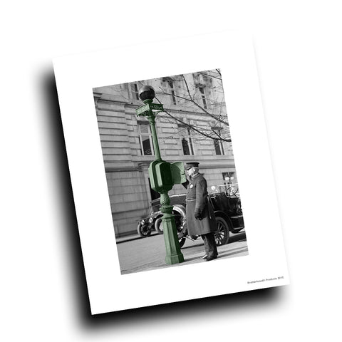 Old Police Call Box On the Beat Vintage Design 8x10 Color Print