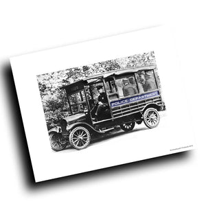 Early 1900's Police Paddy Wagon Vintage Design 8x10 Color Print