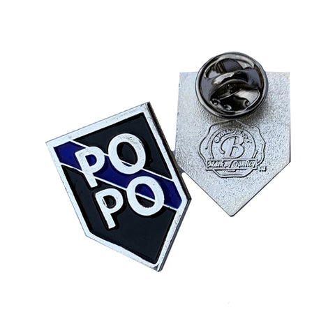 Thin Blue Line Police Sheriff PO PO Firearms - Shield Shape Metal Lapel Pin
