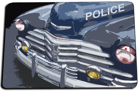 Two Door Mats - Old Chevrolet Police Squad Car