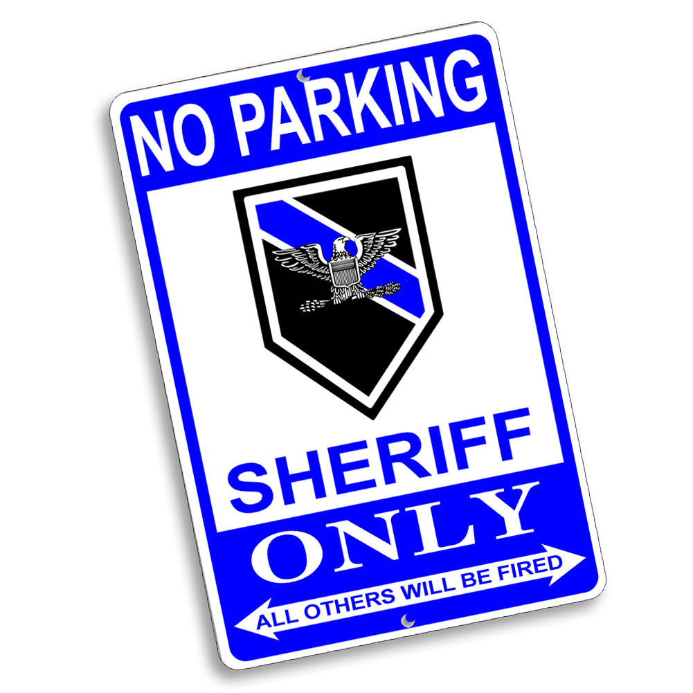 No Parking Sheriff Only Eagle Rank Design 12x8 Inch Aluminum Sign