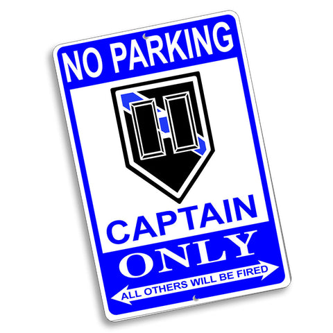 No Parking Captain Only Rank Design 12x8 Inch Aluminum Sign