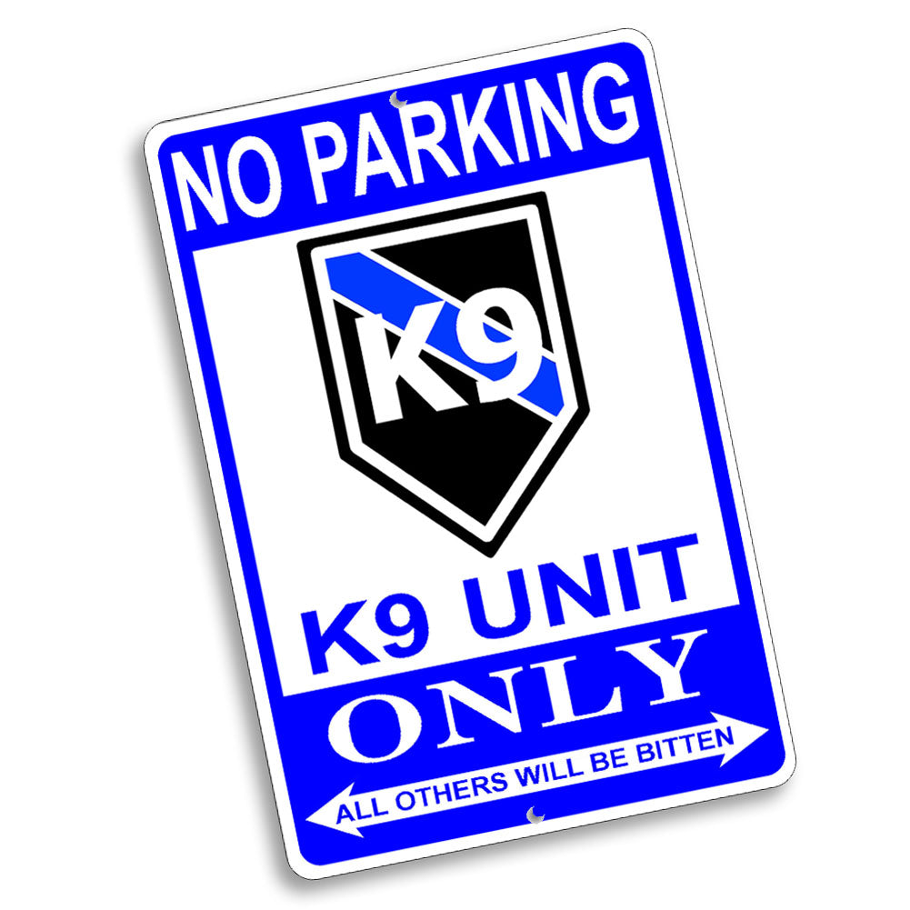 No Parking K9 Canine Only Rank Design 12x8 Inch Aluminum Sign