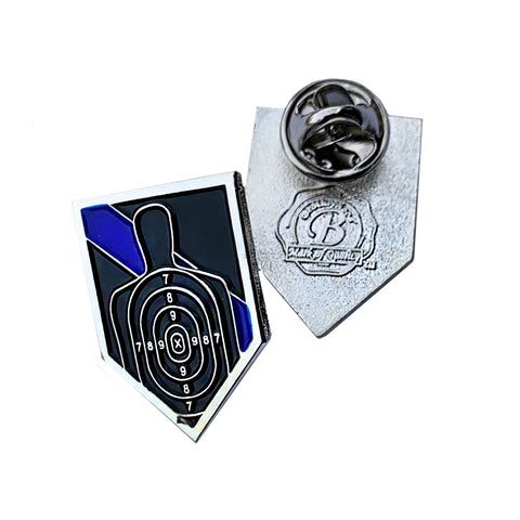 Thin Blue Line Police Sheriff B27 Target Firearms - Shield Shape Metal Lapel Pin