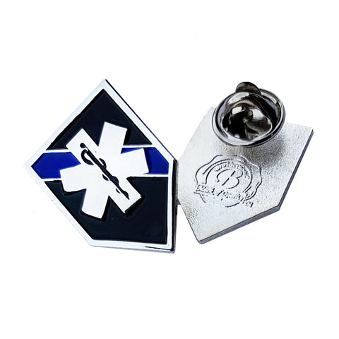Thin Blue Line Police Sheriff EMS Star of Life Shield Shape Metal Lapel Pin