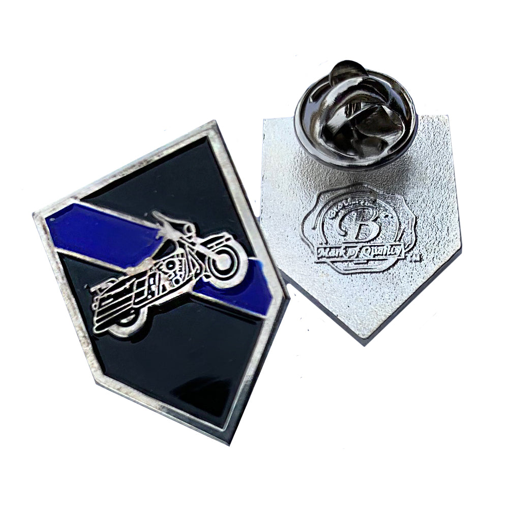 Thin Blue Line Police Sheriff Motorcycle Unit Shield Shape Metal Lapel Pin