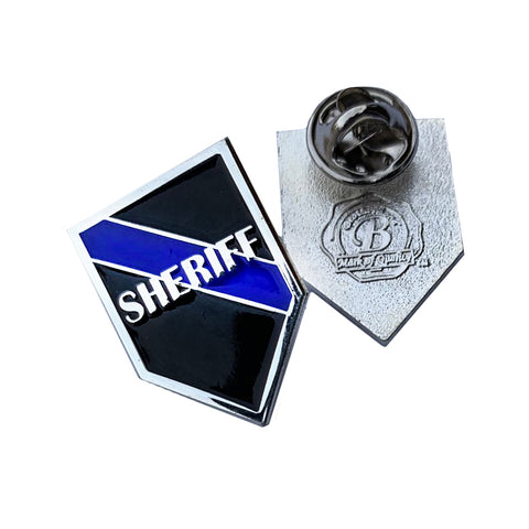 Thin Blue Line Sheriff Shield Shape Metal Lapel Pin