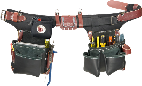 Occidental Leather B9588 Black Adjust-to-Fit Green Builder Tool Bag Set