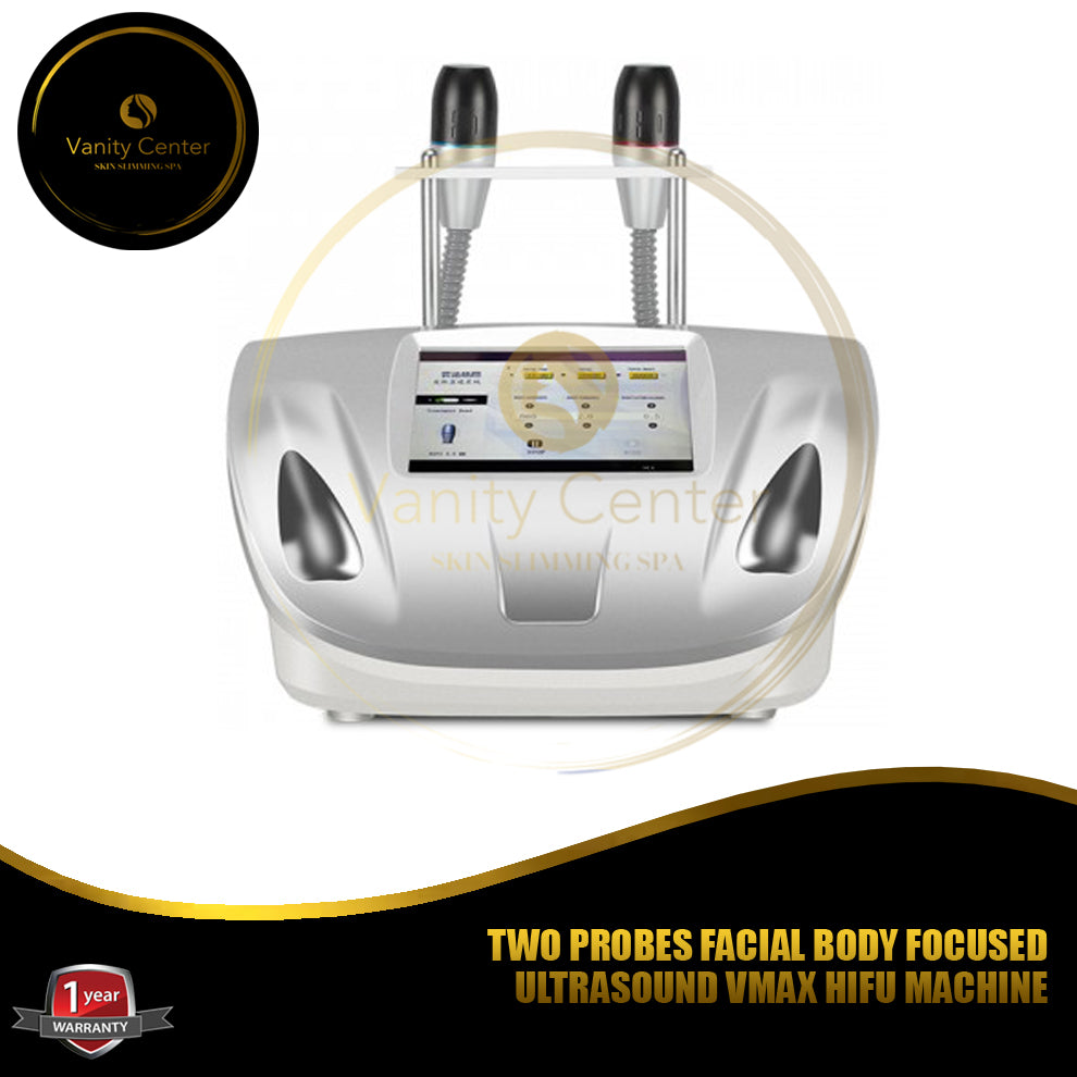 TWO PROBES FACIAL BODY FOCUSED ULTRASOUND VMAX HIFU MACHINE