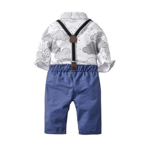 Shop Baby Boy Button up Shirt with Suspender Pants Outfit - Blissful Baby Co