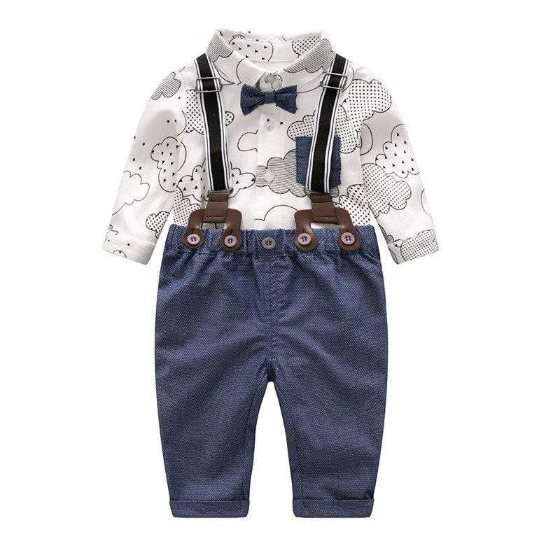 Baby Boy Button up Shirt with Suspender Pants Outfit - Blissful Baby Co