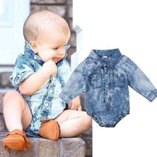 Shop Baby Boy Denim Longsleeve Romper - Blissful Baby Co