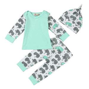 Baby Elephant Printed Baby Outfit with Hat - Blissful Baby Co