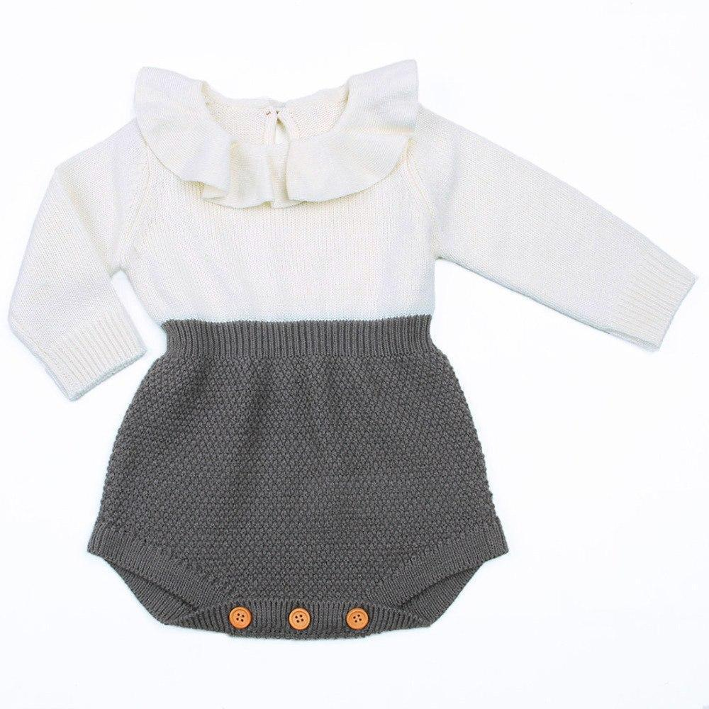 Shop Baby Girl Clothes - Long Sleeve Knitted Wool Romper - Blissful Baby Co