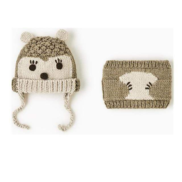 Cute Animals Baby Beanie & Scarf Combo Set - Blissful Baby Co