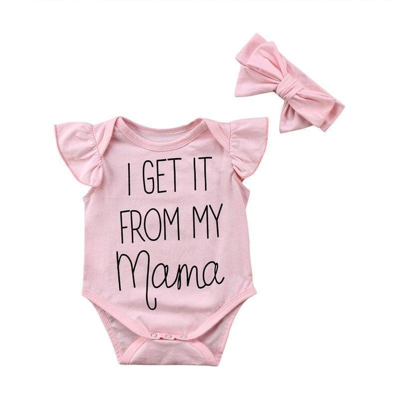 Shop Cute Baby Girl Outfit - I Get It From My Mama - Pink Romper & Headband - Blissful Baby Co