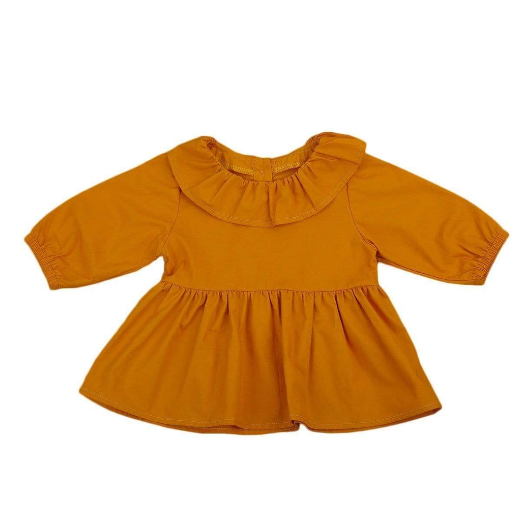 Shop Cute Baby Girl Romper - Pumpkin Frilly Collar Button Up - Blissful Baby Co