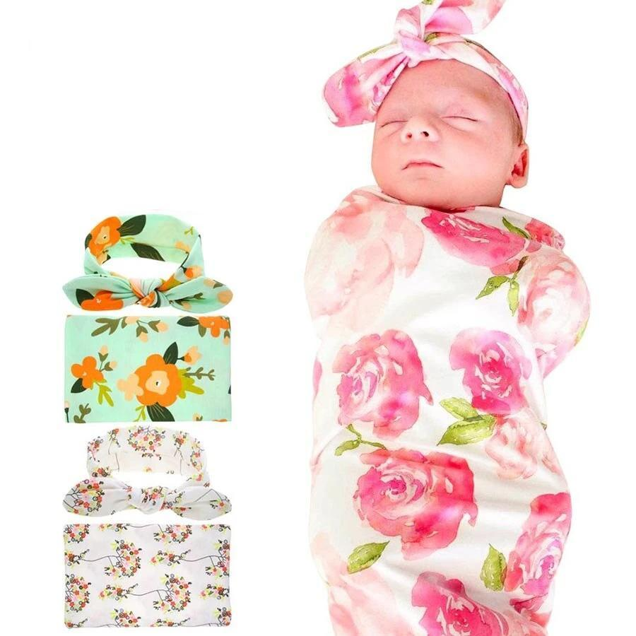 Floral Baby Swaddle Wrap With Headband - Blissful Baby Co