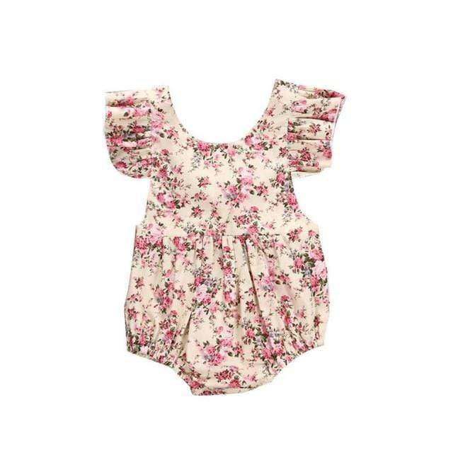 Shop Flower Child - Frilly Sleeveless Baby Girl Romper - Blissful Baby Co