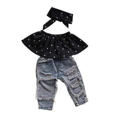 Shop Rebel Chick - Ripped Jeans & Frilly Polka Dot Top with Headband Baby Girl Outfit - Blissful Baby Co