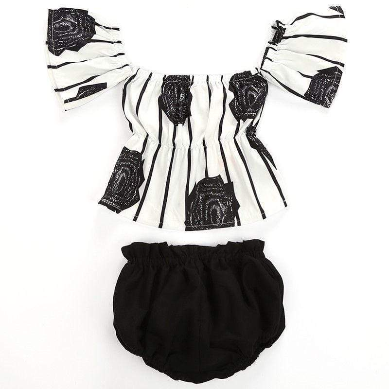 Shop Striped Flower Printed Blouse & Bottoms Outfit - Blissful Baby Co