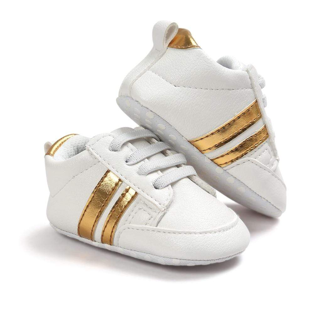 Two-Striped Lace-Up First Walker Shoes - Blissful Baby Co