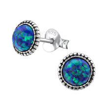Load image into Gallery viewer, Green Opal Beaded Ear Studs