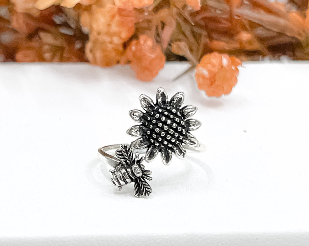 Bee and Sunflower Ring
