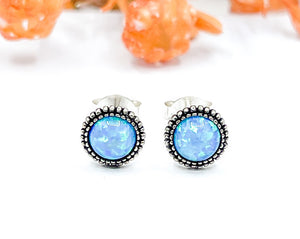 Blue Opal Beaded Ear Studs