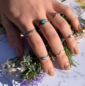 Open Blue Opal Ring