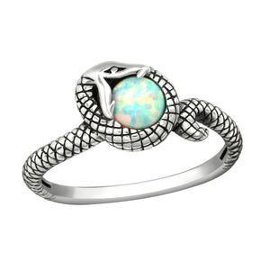 Snake and White Opal Ring