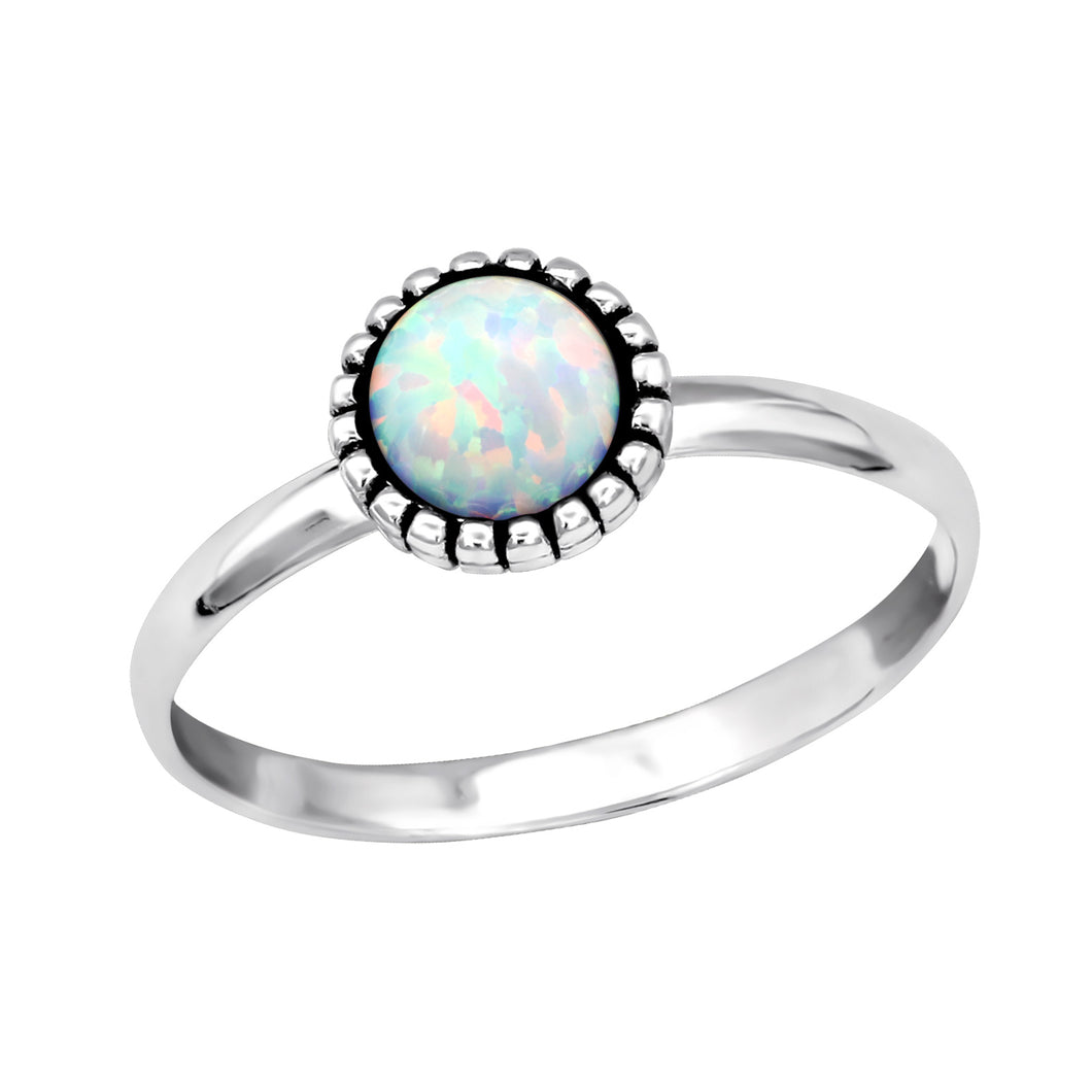 White Opal Beaded Ring