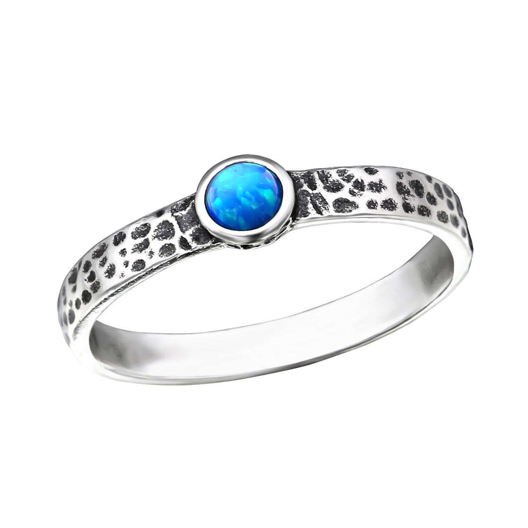 Blue Opal Hammered Ring
