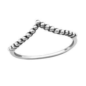 Beaded Wishbone Ring