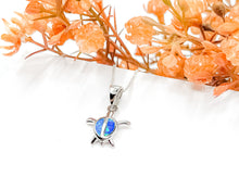 Load image into Gallery viewer, Blue Opal Turtle Necklace