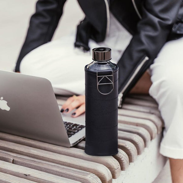 EQUA WATER BOTTLE - MISMATCH FAUX LEATHER GRAPHITE