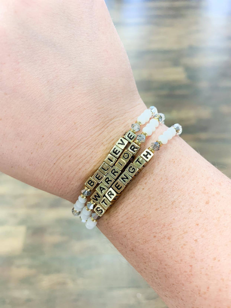 Gold Believe Beaded Bracelet
