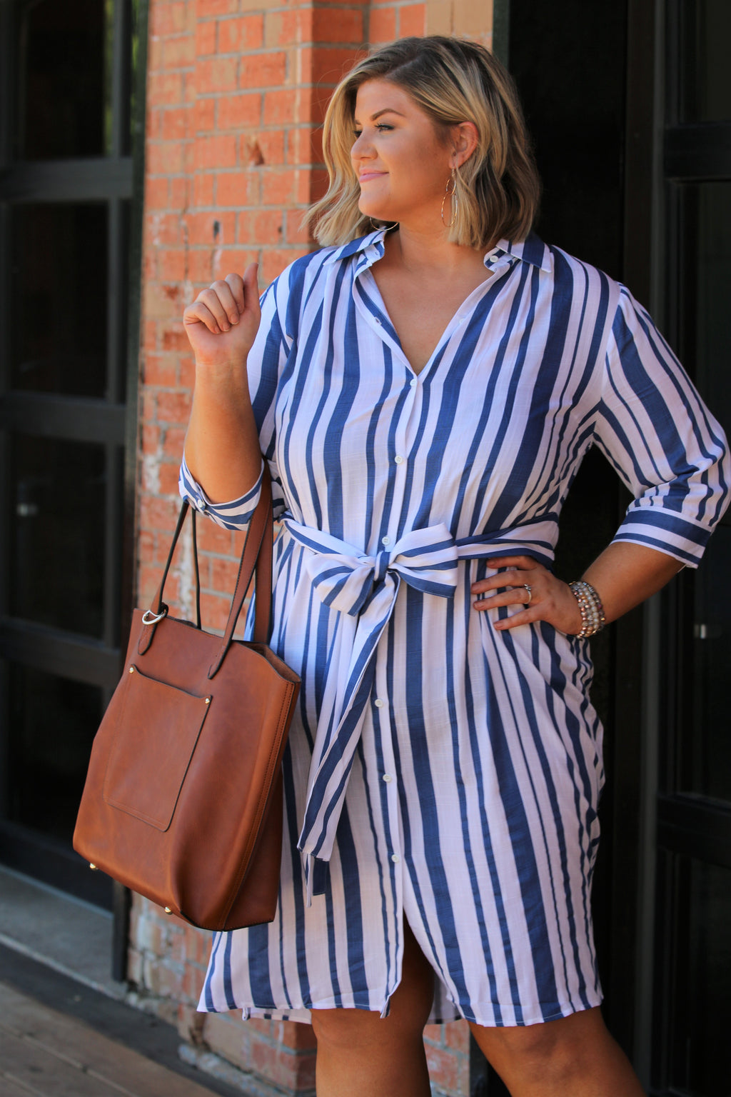 Kassidy Button Down Curvy Dress