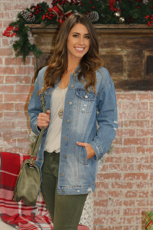 Classic Style Distressed Denim Jacket