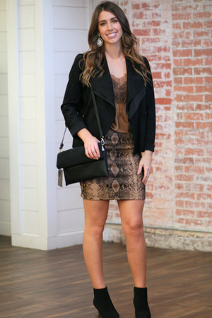 Twice Shy Snake Print Skirt